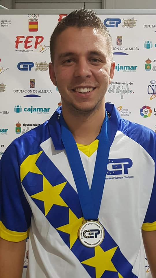 Lucas Desport champion d'Europe de pétanque France Espoir 2018